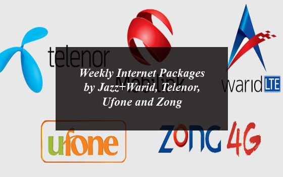 Weekly Internet Packages by Jazz+Warid, Telenor, Ufone and Zong