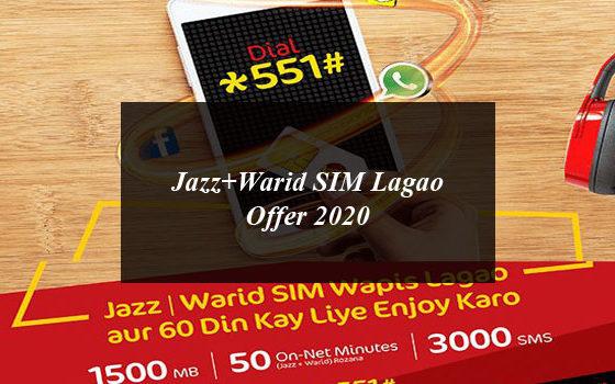 Jazz+Warid SIM Lagao Offer 2020