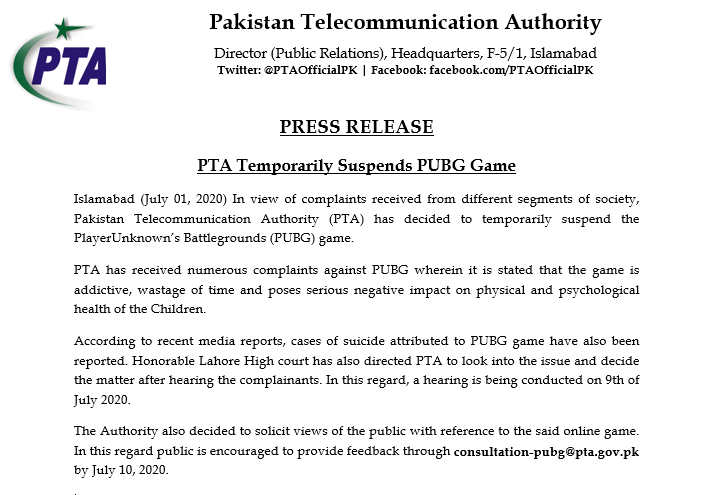 Does PTA to Unban PUBG in Pakistan?