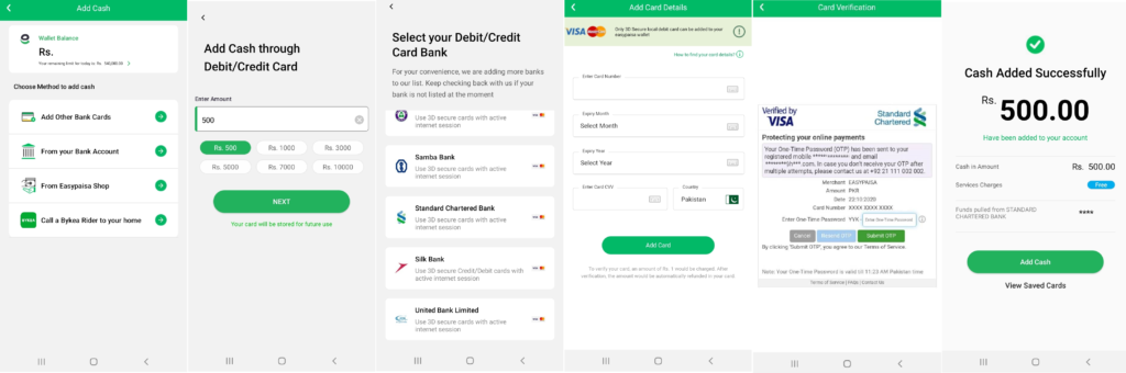 Easypaisa App Lets Users To Deposit Via Online Transaction Enabled Debit Cards